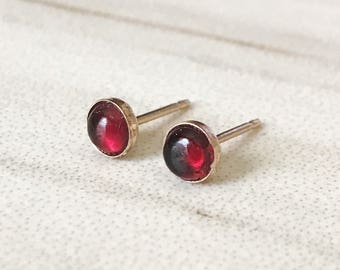 Garnet Stud Earrings // Tiny Sterling Silver Studs // Gold Fill Mininalist Earrings // Alamandite Garnet // 3mm 4mm 5mm 6mm
