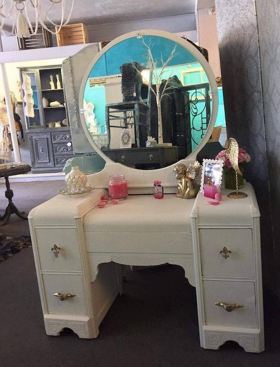 Items Similar To Antique Shabby Chic 1940s White Vanity