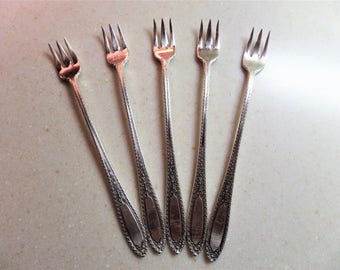 Vintage Silver Plate Seafood Forks 1928 Ramona Pattern by Wm A. Rogers - Set of 5