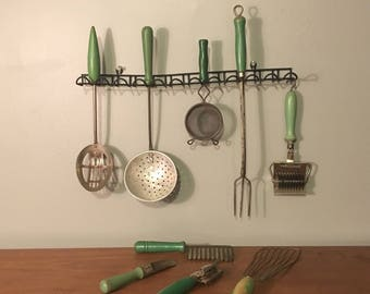 Wood Handled Primitive Kitchen Utensils-Lot of 10