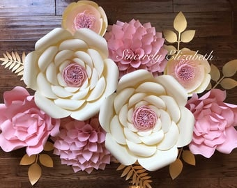 8 Piece paper flower set, Bridal Decor, Large Paper Flowers