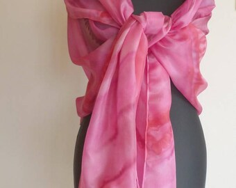 Shawl, scarf, scarf, pareo... 4 in 1. Great bright pink fluid and light silk scarf. Unique painted, signed, hand hemmed.