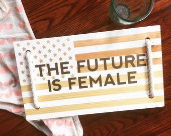 The Future is Female | Feminist Flag Serving Tray with Handles