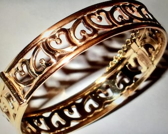Vintage 9ct Rolled Gold Filigree Bangle with safety chain
