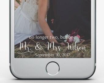 Custom Snapchat Filter, No longer two but one Snapchat Filter, Religious Wedding Filter, Wedding Snapchat Geofilter, Elegant Wedding Gift