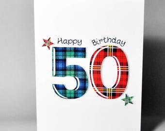 Tartan Number 50 Birthday Card WWTN50