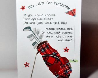 Scottish Birthday Card Golf Bag WWBI50
