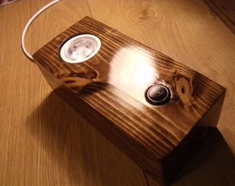 Uplighter. Wood Block lamp / Lounge lamp / bedside lamp / desk lamp