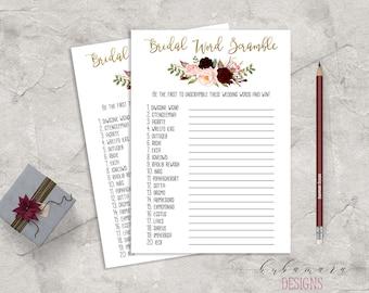 Marsala Printable Bridal Word Scramble Bridal Shower Game Floral Quiz Burgundy Pink Peonies Flowers Wedding Trivia Bridal Quiz - BG018