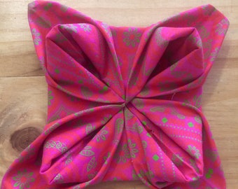 Genuine Shweshwe Napkins - Pink 100% Cotton