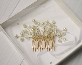 Clothing gift Rose gold hair comb wedding hair comb pearl hair comb bridal headpiece hair comb bridal comb hair accessories wedding comb