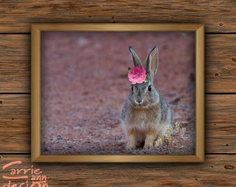 Nursery Wall Art, Rabbit Print, Flower, Bunny, Printable Pink