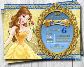 Princess Belle Invitation, Beauty and the Beast Invitations, Princess Belle Birthday Invitation, Belle Invitation, DIGITAL or PRINTED