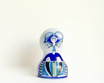 ON SALE Roger Capron Valauris France vintage mid century modern hand painted studio pottery Female Figurine Lampbase