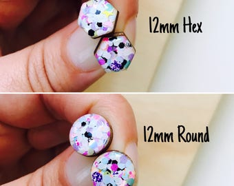 12mm Party Time Resin/Bamboo Stud Earrings • Round • Hexagon • Surgical Steel • Hypoallergenic • Glossy • Dome