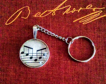 Musical note Keyring recycled music book page altered book upcycled repurposed Beethoven unique and one of a kind