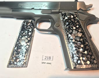 1911 grips,genuine Mother of pearl inlaid on wood, Colt,Kimber,Taurus,Sig,Ruger, Springfield,Para,Remington clones,ambi, Sale item #218