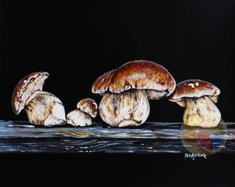"Mushroom Painting, Porcini (Bolete, Cep) Mushrooms, 8""x10"" original hand painted artwork, dining room decor, kitchen wall art, home decor"