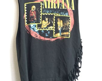 1997 NIRVANA Distressed Cut Off Vintage T Shirt // Size Large