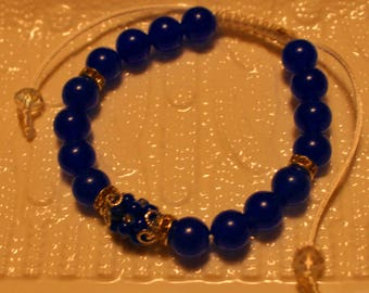 Beautiful Sapphire, crystal & glass-beaded bracelet; handmade, shamballa, beadweaving, blue, cute, casual-wear, party-wear