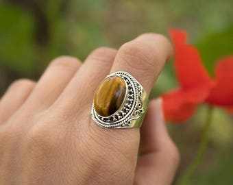 Oval Tigers Eye Ring, Sterling Silver Natural Stone Ring, Brown Stone Ring, Statement Ring, Boho Gypsy Handmade, Reiki, Carpricorn Jewelry