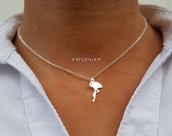 Flamingo necklace, flamingo jewelry, flamingo pendant, flamingo charm, flamingo jewellery, flamingo bird charm, tropical necklace, flamingo