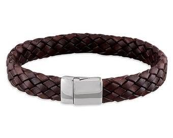 Xavier Mens Bracelet, Sterling Silver, Brown Leather, Brown Bangle, Mens Bangle, Leather Bracelet, ID bracelet, Leather ID Bangle, Engraved