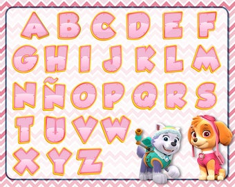 Alphabet pink Paw Patrol 27 letters PNG HD + 15 Extra Clipart