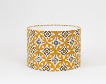 High Quality Elmas Golden Yellow And Charcoal Grey Lampshade   30cm Diameter   Yellow  And Grey Lampshade