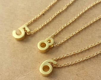 Golden Lucky Number  Necklace ,Matte Number, Golden chain necklace for Best friend, Personalized Initial,BFF Gift
