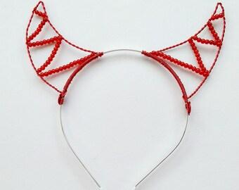 Beaded red devil horns headband