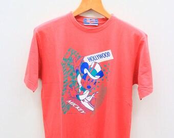 Vintage MICKEY MOUSE Walt Disney Cartoon Animation Red Tee T Shirt