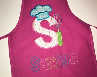 Personalized kids apron, letter S Monogram Appliqué- chefs hat and whisk