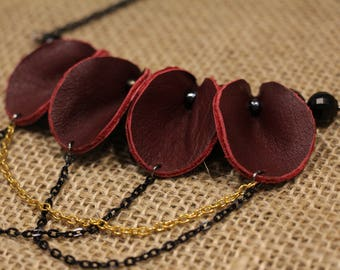 Spade Mini - Blood Red Leather Necklace with Geometric Beads