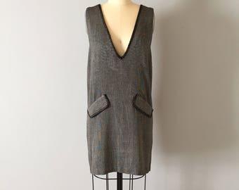 asphalt gray mini dress   deep V neck micro gingham dress   90s pinafore mini dress