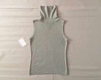 silk metallic top / silver metallic knitted top / cloudy gray roll neck silk top