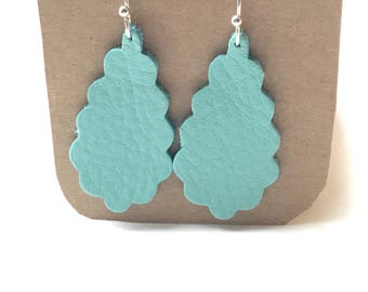 Turquoise Leather Scalloped Earrings - Lightweight!