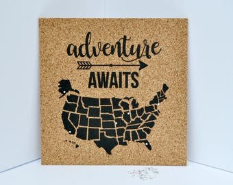 Adventure Awaits - Pinnable Cork Map of the USA - United States Travel Map / Bulletin Board - Includes 50 Round Pins! Valentine's Day Gift!