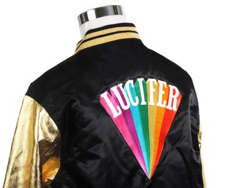 Lucifer customised black / gold vintage  bomber jacket made in Germany, sz 2XL,as new.