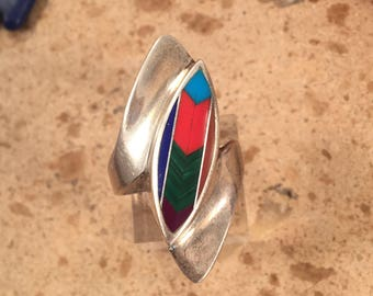Vintage Zuni Multi Stone and Sterling Silver Inlay Ring Size 8