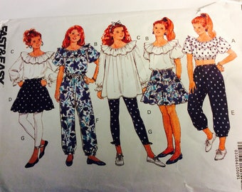 Girls Size 12, SIze 14 Peasant Top Pattern,Gathered Skirt,Leggings,Gathered Ankle Pants,Boho,Crop Top,Ruffled Top,Off Shoulder Top,Ruffles