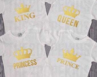 Family Shirts Set King Queen Prince Princess White Gold Design Royal