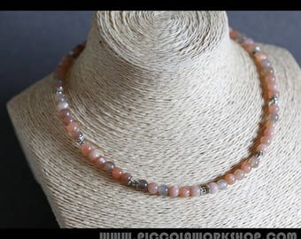 GradeAA Natural Moonstone Necklace, Sterling Silver Beads Necklace