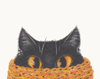 Winter Woollies Cat Print - Made to Order