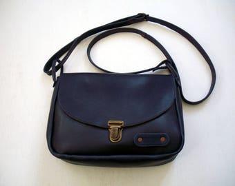 dark blue leather with Chevron bag