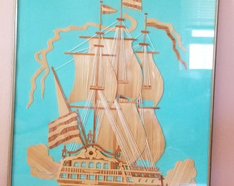 Russian Straw Author Picture Ship Wall decoration