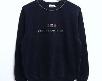 RARE!!! First Down Usa Big Logo Embroidery Crew Neck Dark Blue Colour Sweatshirts Hip Hop Swag L Size