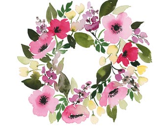 Pink Wreath INSTANT DOWNLOAD