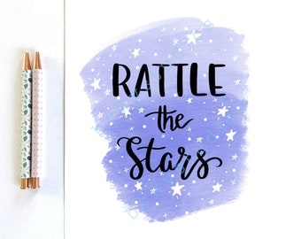 Printable Art 'Rattle the Stars' Throne of Glass by Sarah J Maas / Aelin Book Quote Illustration Wall Art Print Home Decor 8 x 10