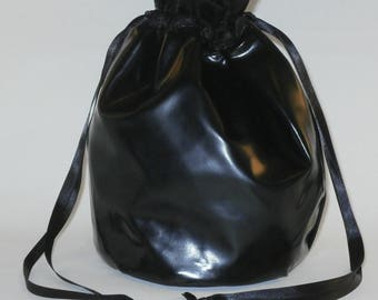 Black Shiny PVC Drawstring Dolly Bag / Handbag Gothic